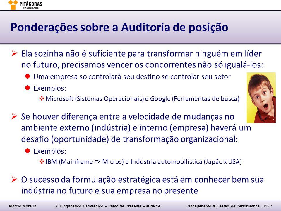 Márcio Moreira2. Diagnóstico Estratégico – Visão de Presente – slide 14Planejamento & Gestão de Performance - PGP Ponderações sobre a Auditoria de pos