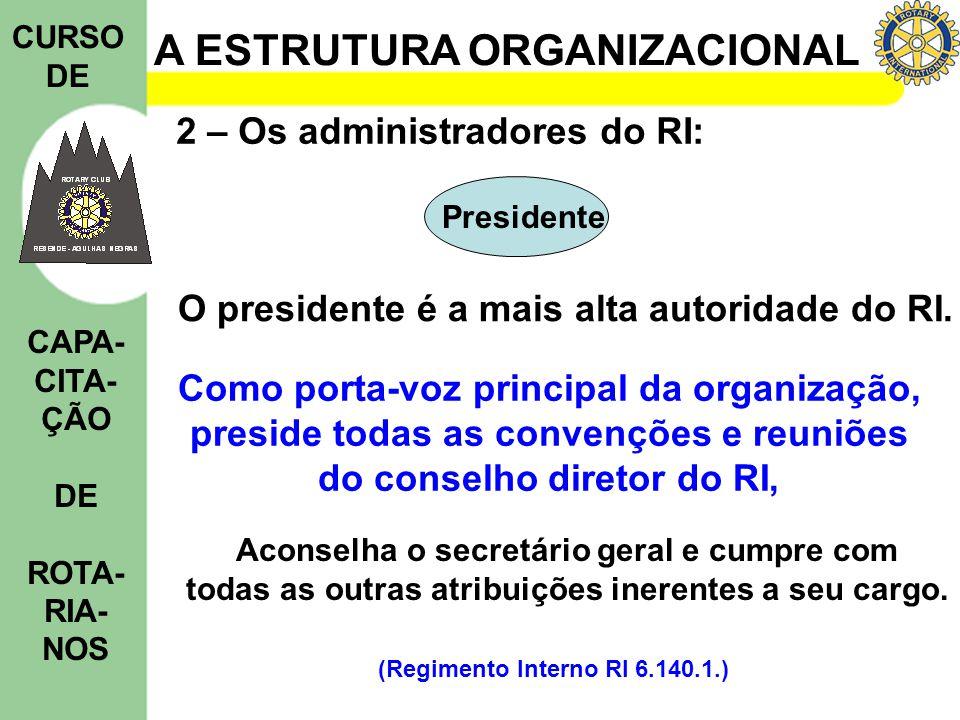 A ESTRUTURA ORGANIZACIONAL CURSO DE CAPA- CITA- ÇÃO DE ROTA- RIA- NOS Presidente 2 – Os administradores do RI: O presidente é a mais alta autoridade d