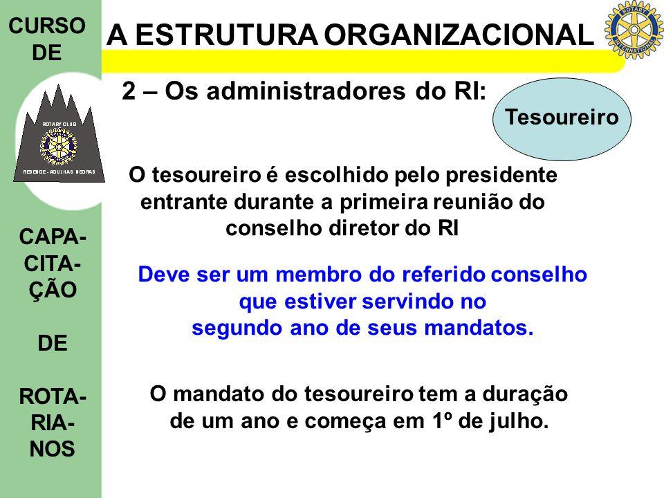 A ESTRUTURA ORGANIZACIONAL CURSO DE CAPA- CITA- ÇÃO DE ROTA- RIA- NOS 2 – Os administradores do RI: Tesoureiro O tesoureiro é escolhido pelo president