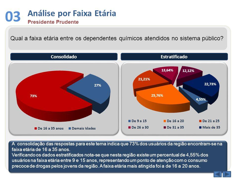 03 Análise por Faixa Etária Presidente Prudente Qual a faixa etária entre os dependentes químicos atendidos no sistema público.