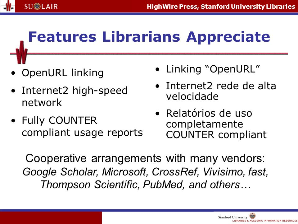 HighWire Press, Stanford University Libraries Features Librarians Appreciate OpenURL linking Internet2 high-speed network Fully COUNTER compliant usag