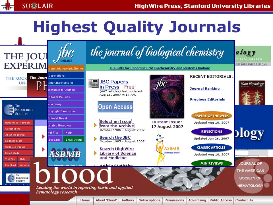 HighWire Press, Stanford University Libraries Some Facts and Figures Full-text articles online: 4,330,000+ Artigos de texto completo online Users per month: 45 million Usuarios mensais Hits per month: 2.85 billion Hits mensais Searches per month: 10 million+ Buscas mensais Article downloads per month: 100 million+ Artogosque foramfeitos download per month New issues per day: ~ 40 Assuntos novos por dia New articles per day: ~ 580 Artigos novos por dia