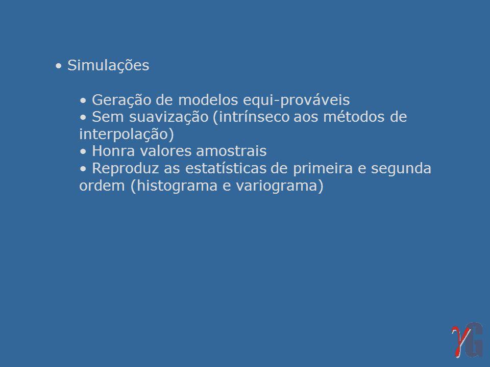 Simulações Geração de modelos equi-prováveis Sem suavização (intrínseco aos métodos de interpolação) Honra valores amostrais Reproduz as estatísticas