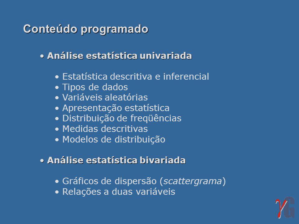 Análise estatística univariada Análise estatística univariada Estatística descritiva e inferencial Tipos de dados Variáveis aleatórias Apresentação es