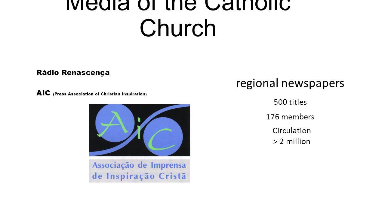 Media of the Catholic Church Rádio Renascença AIC (Press Association of Christian Inspiration) ARIC (Radio Association of Christian Inspiration) 70 members regional radios