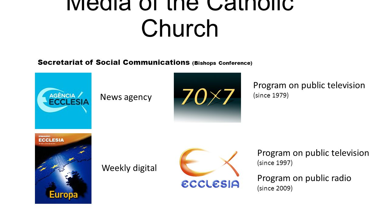 Media of the Catholic Church Secretariat of Social Communications (Bishops Conference) News agency Weekly digital Program on public television (since 1979) Program on public television (since 1997) Program on public radio (since 2009)