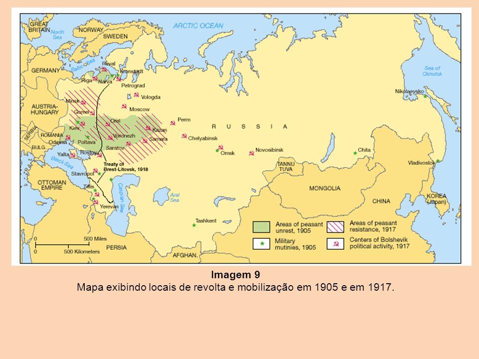 Imagem 9 Mapa exibindo locais de revolta e mobilização em 1905 e em 1917.