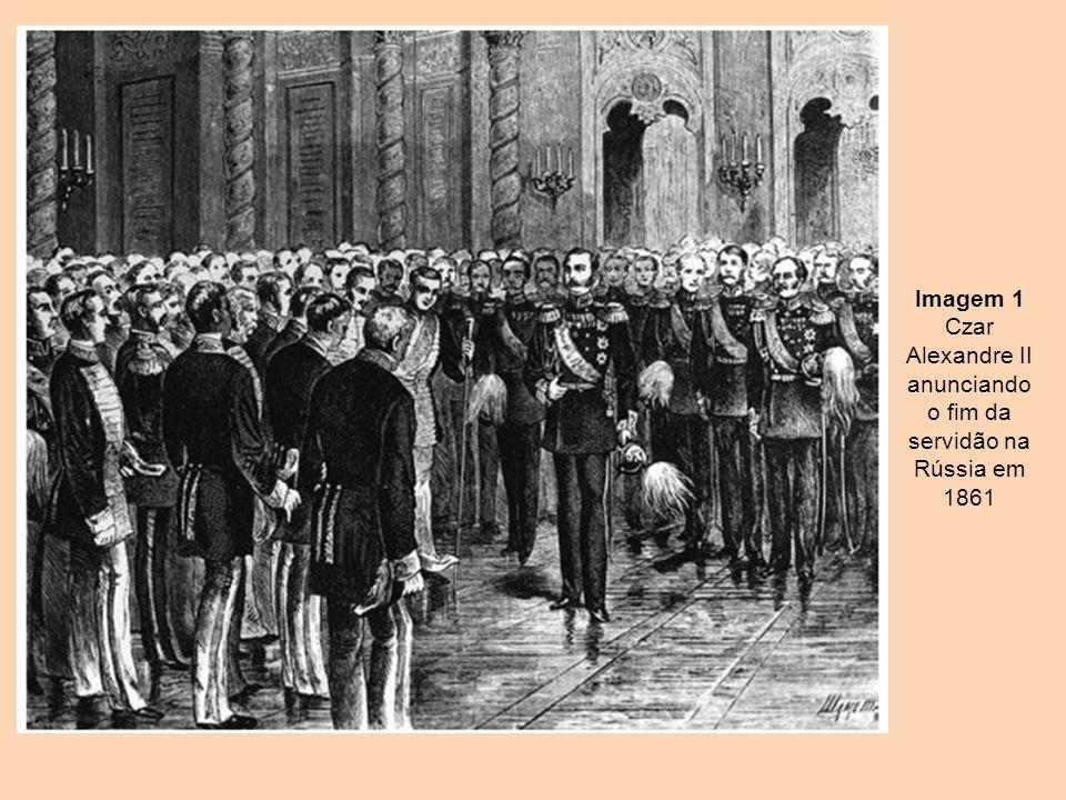 Imagem 1 Czar Alexandre II anunciando o fim da servidão na Rússia em 1861