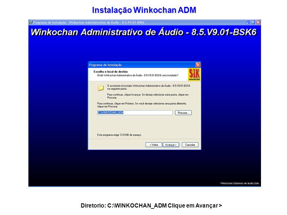Instalação Winkochan ADM Diretorio: C:\WINKOCHAN_ADM Clique em Avançar >