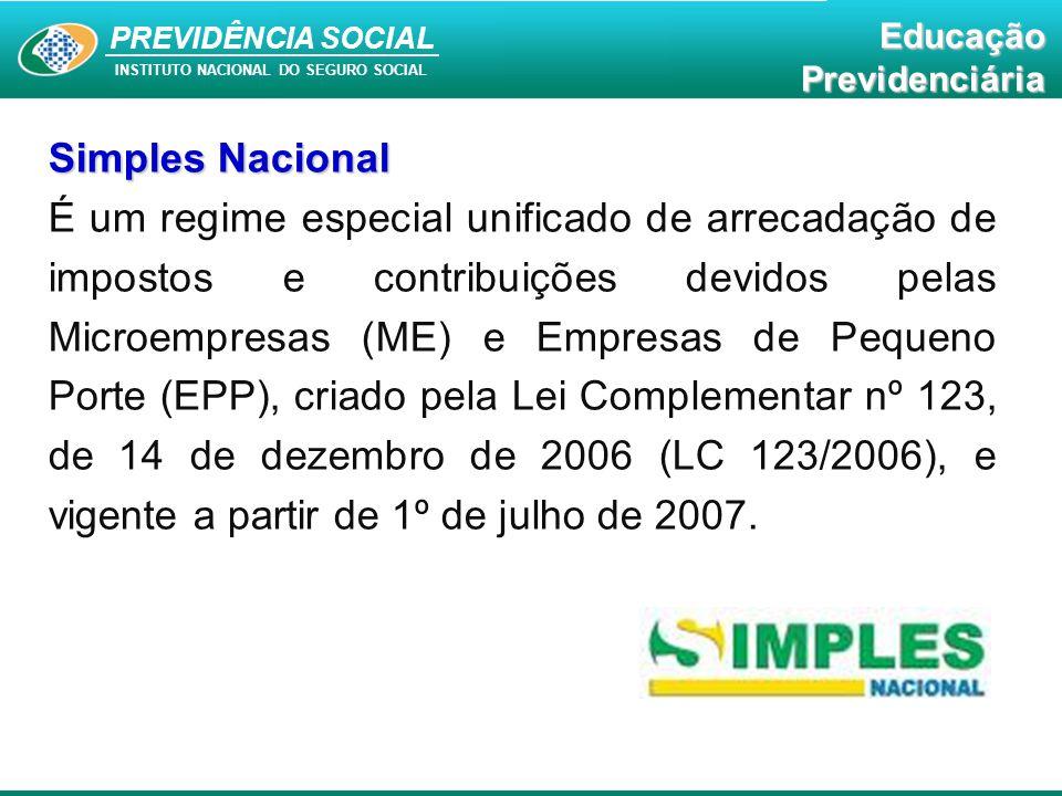 PREVIDÊNCIA SOCAL INSTITUTO NACIONAL DO SEGURO SOCIAL Educação Previdenciária PREVIDÊNCIA SOCIAL INSTITUTO NACIONAL DO SEGURO SOCIAL EducaçãoPrevidenciária Simples Nacional É um regime especial unificado de arrecadação de impostos e contribuições devidos pelas Microempresas (ME) e Empresas de Pequeno Porte (EPP), criado pela Lei Complementar nº 123, de 14 de dezembro de 2006 (LC 123/2006), e vigente a partir de 1º de julho de 2007.