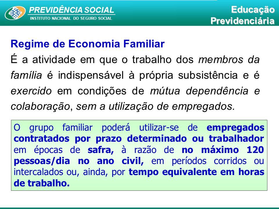 PREVIDÊNCIA SOCAL INSTITUTO NACIONAL DO SEGURO SOCIAL Educação Previdenciária PREVIDÊNCIA SOCIAL INSTITUTO NACIONAL DO SEGURO SOCIAL EducaçãoPrevidenciária Regime de Economia Familiar É a atividade em que o trabalho dos membros da família é indispensável à própria subsistência e é exercido em condições de mútua dependência e colaboração, sem a utilização de empregados.
