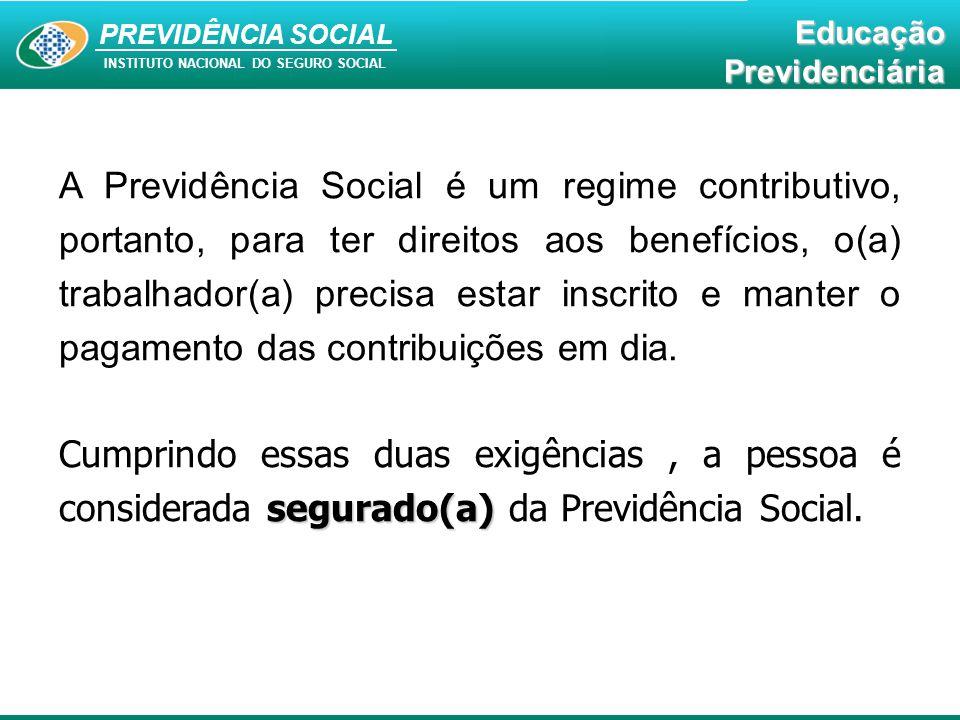 PREVIDÊNCIA SOCAL INSTITUTO NACIONAL DO SEGURO SOCIAL Educação Previdenciária PREVIDÊNCIA SOCIAL INSTITUTO NACIONAL DO SEGURO SOCIAL EducaçãoPrevidenciária A Previdência Social é um regime contributivo, portanto, para ter direitos aos benefícios, o(a) trabalhador(a) precisa estar inscrito e manter o pagamento das contribuições em dia.