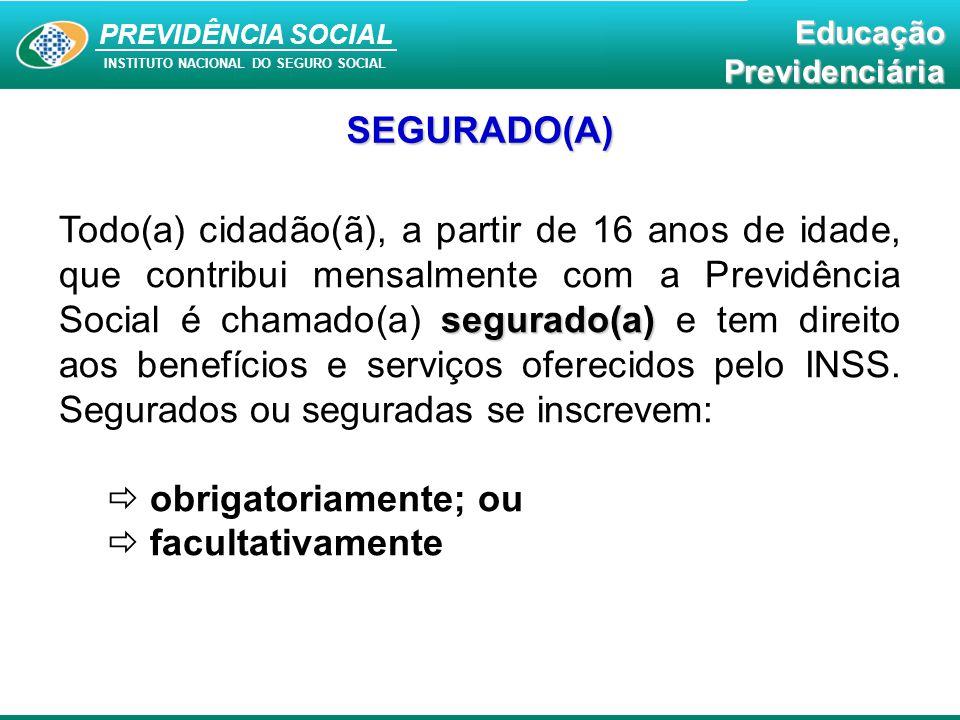 PREVIDÊNCIA SOCAL INSTITUTO NACIONAL DO SEGURO SOCIAL Educação Previdenciária PREVIDÊNCIA SOCIAL INSTITUTO NACIONAL DO SEGURO SOCIAL EducaçãoPrevidenciária SEGURADO(A) segurado(a) Todo(a) cidadão(ã), a partir de 16 anos de idade, que contribui mensalmente com a Previdência Social é chamado(a) segurado(a) e tem direito aos benefícios e serviços oferecidos pelo INSS.