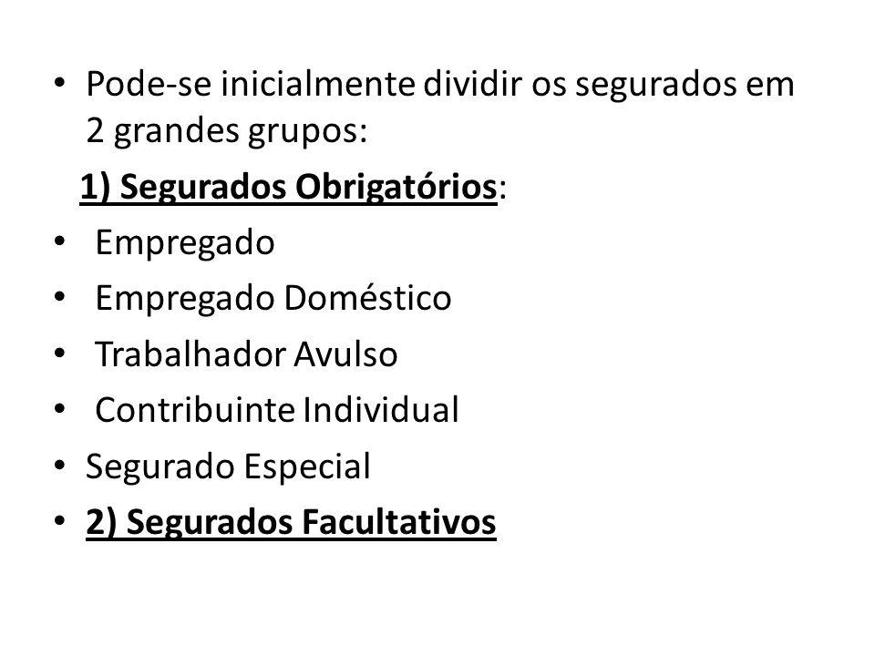 Pode-se inicialmente dividir os segurados em 2 grandes grupos: 1) Segurados Obrigatórios: Empregado Empregado Doméstico Trabalhador Avulso Contribuint