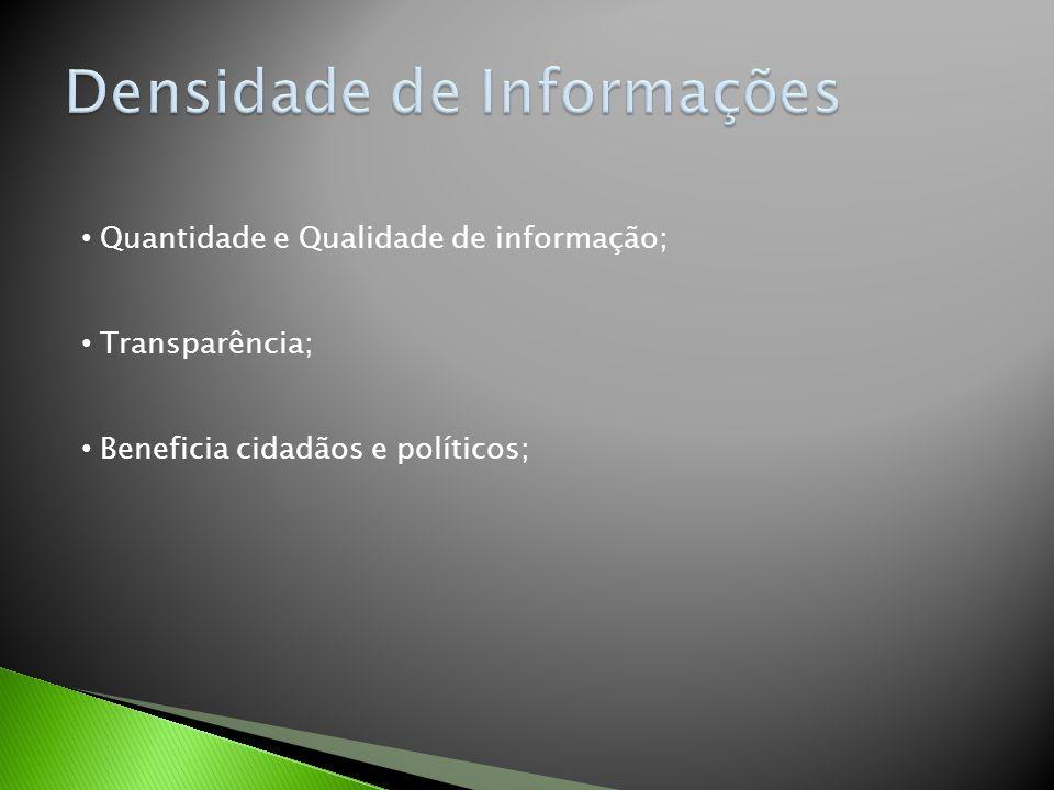 Quantidade e Qualidade de informação; Transparência; Beneficia cidadãos e políticos;