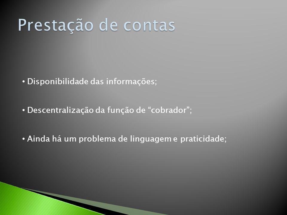"""Disponibilidade das informações; Descentralização da função de """"cobrador""""; Ainda há um problema de linguagem e praticidade;"""