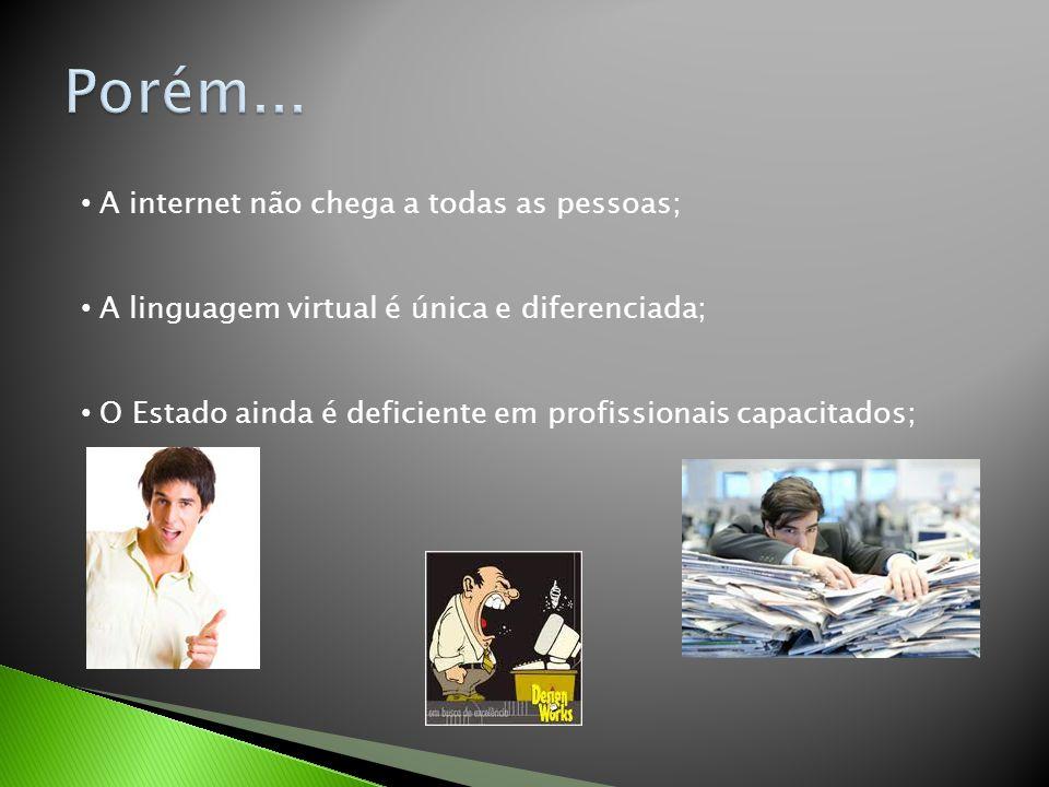A internet não chega a todas as pessoas; A linguagem virtual é única e diferenciada; O Estado ainda é deficiente em profissionais capacitados;