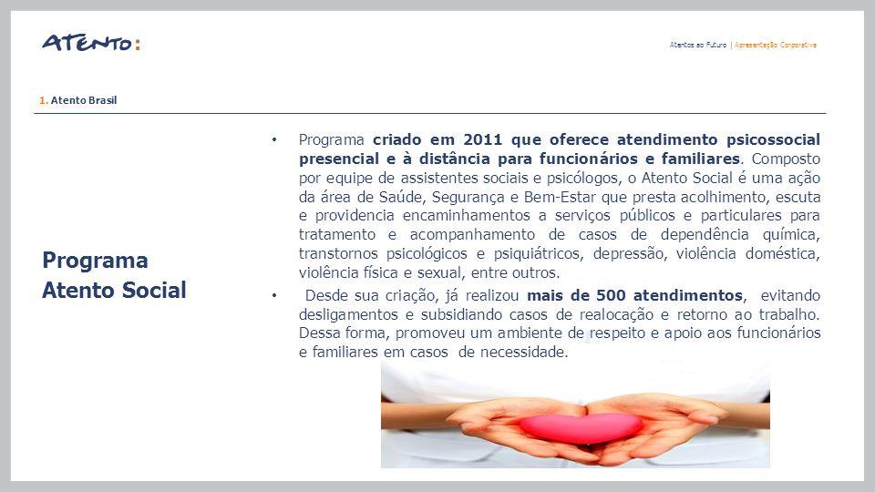 Programa Atento Social Atentos ao Futuro   Apresentação Corporativa Programa criado em 2011 que oferece atendimento psicossocial presencial e à distân