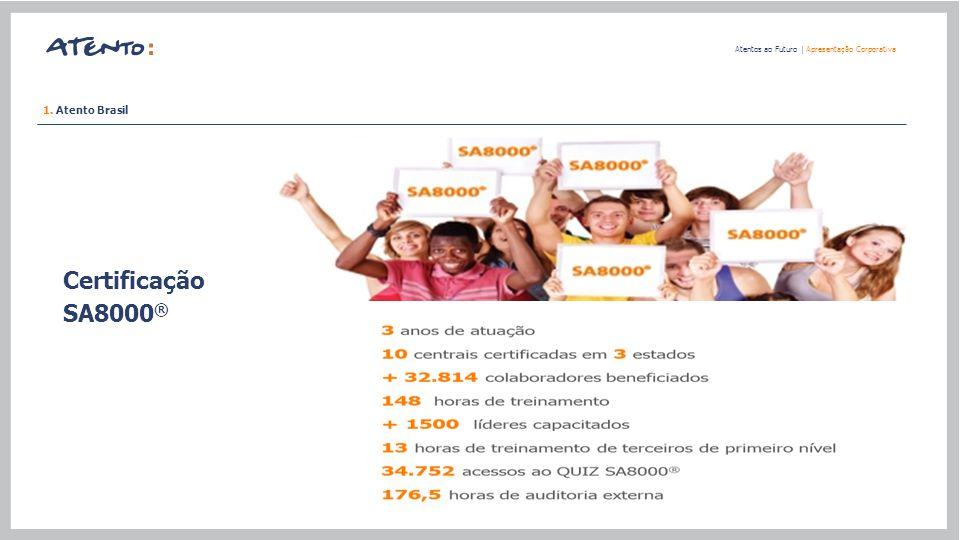 Certificação SA8000 ® Atentos ao Futuro   Apresentação Corporativa 1. Atento Brasil