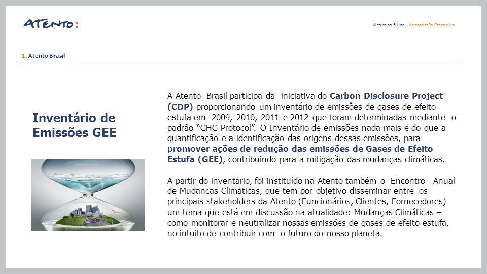 Inventário de Emissões GEE Atentos ao Futuro   Apresentação Corporativa 1. Atento Brasil A Atento Brasil participa da iniciativa do Carbon Disclosure