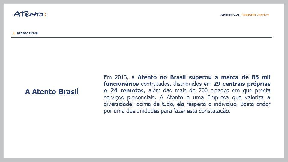 A Atento Brasil Atentos ao Futuro   Apresentação Corporativa Em 2013, a Atento no Brasil superou a marca de 85 mil funcionários contratados, distribuí