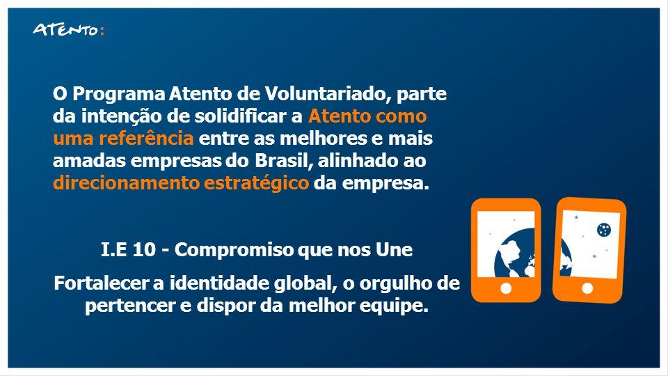 O Programa Atento de Voluntariado, parte da intenção de solidificar a Atento como uma referência entre as melhores e mais amadas empresas do Brasil, a