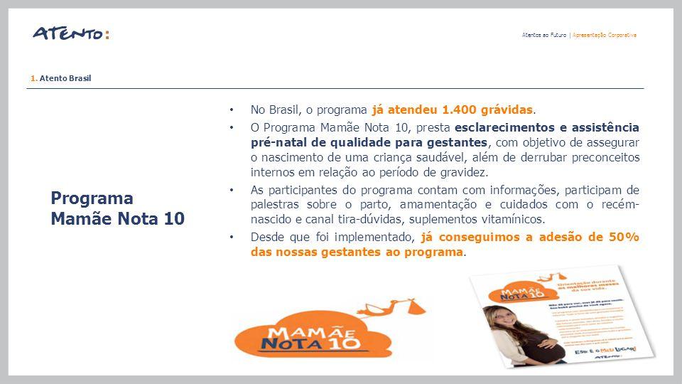 Programa Mamãe Nota 10 Atentos ao Futuro   Apresentação Corporativa No Brasil, o programa já atendeu 1.400 grávidas. O Programa Mamãe Nota 10, presta