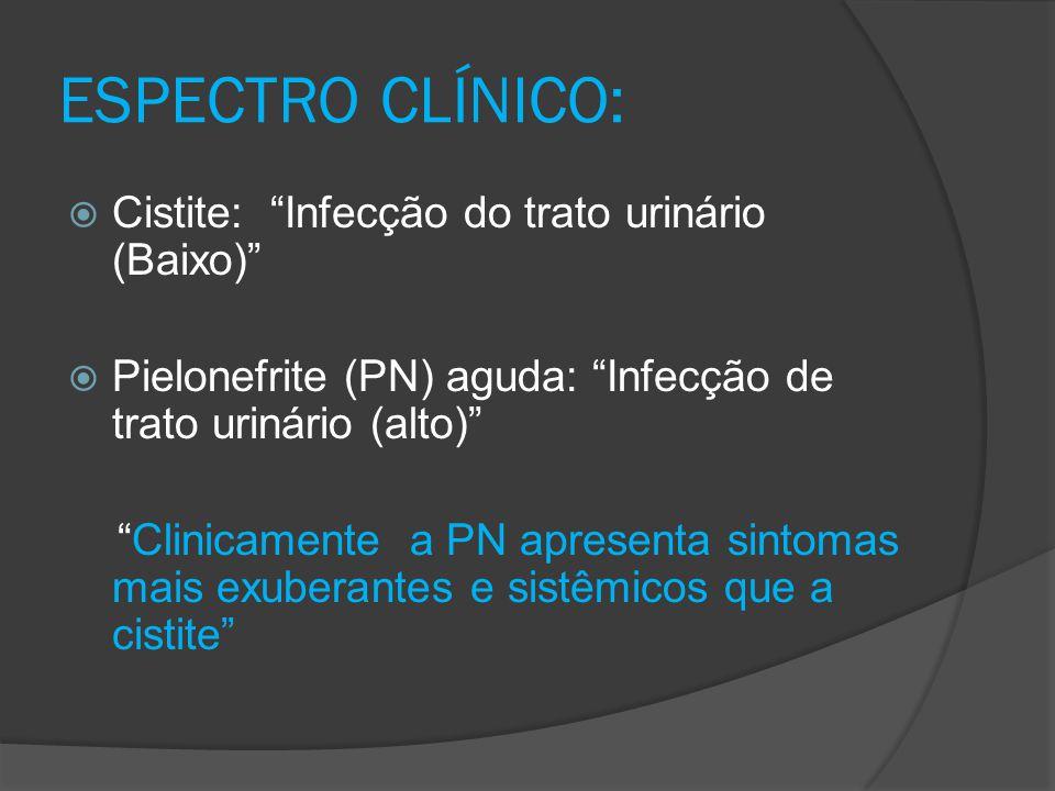 """ESPECTRO CLÍNICO:  Cistite: """"Infecção do trato urinário (Baixo)""""  Pielonefrite (PN) aguda: """"Infecção de trato urinário (alto)"""" """"Clinicamente a PN ap"""