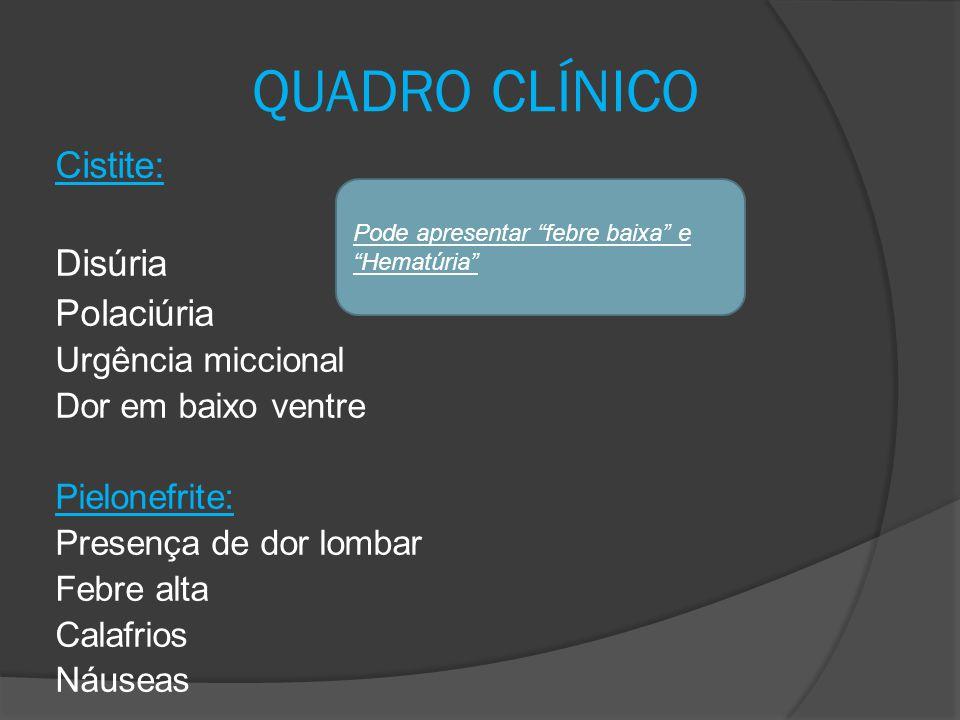 QUADRO CLÍNICO Cistite: Disúria Polaciúria Urgência miccional Dor em baixo ventre Pielonefrite: Presença de dor lombar Febre alta Calafrios Náuseas Po