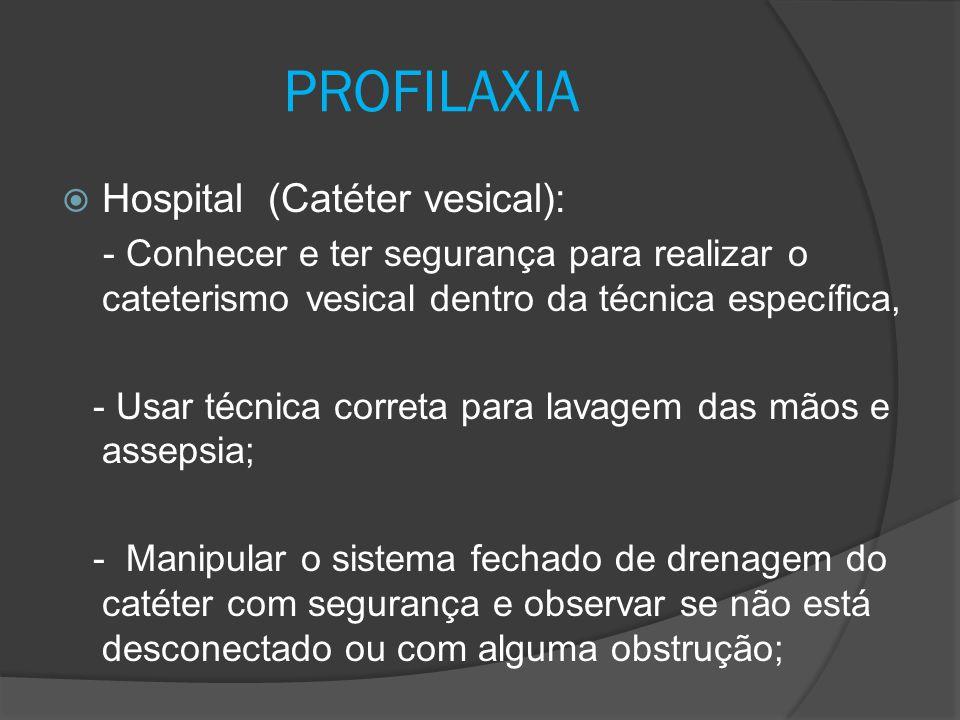 - Utilizar técnica e equipamentos estéreis para realizar o cateterismo vesical; - Verificar o nº da sonda (menor calibre, evitando maior risco de infecção por falha técnica); - Evitar manipular ou tracionar a sonda desnecessariamente ; PROFILAXIA