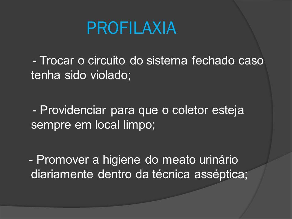 Evitar ao máximo a sondagem, ou o cateterismo vesical, utilizando outros meios que possam auxiliar o paciente .