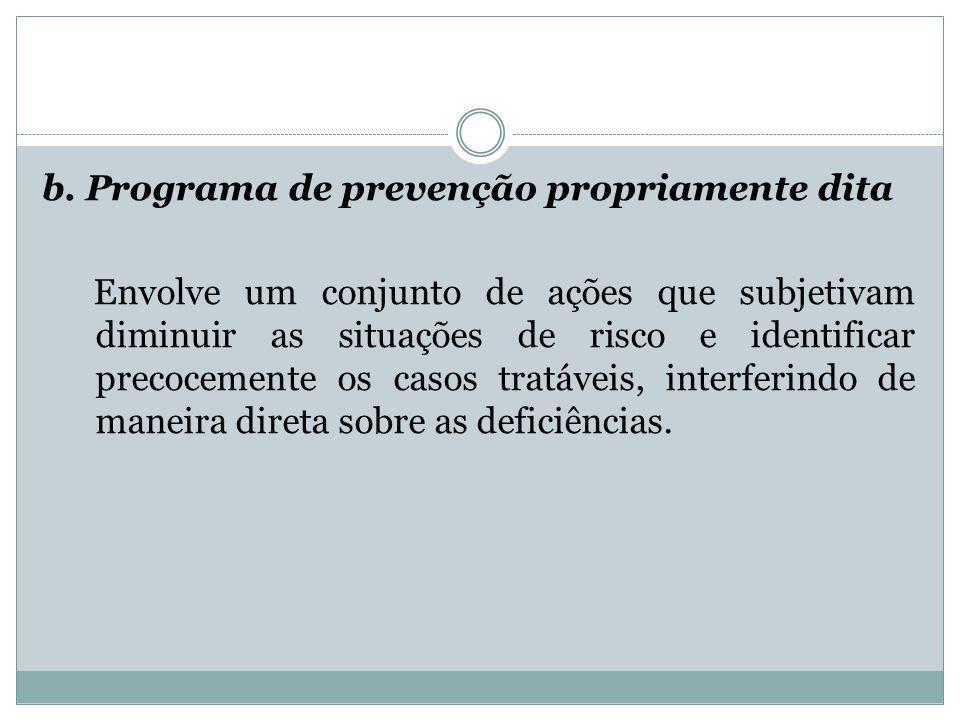 b. Programa de prevenção propriamente dita Envolve um conjunto de ações que subjetivam diminuir as situações de risco e identificar precocemente os ca