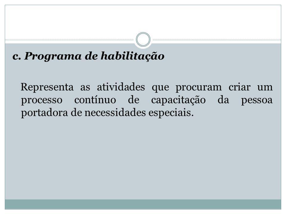 c. Programa de habilitação Representa as atividades que procuram criar um processo contínuo de capacitação da pessoa portadora de necessidades especia