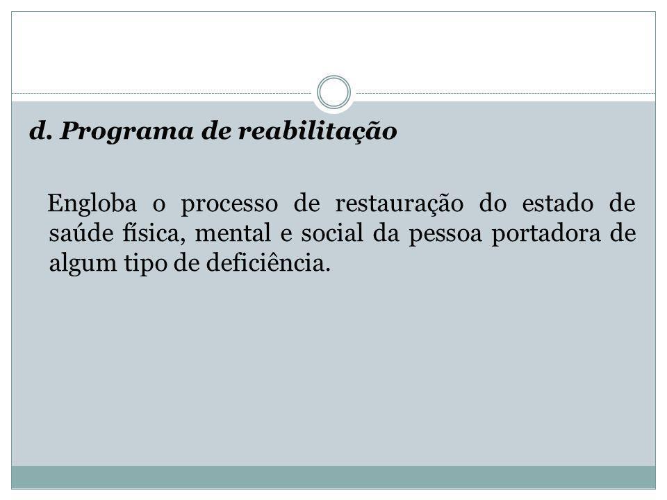 d. Programa de reabilitação Engloba o processo de restauração do estado de saúde física, mental e social da pessoa portadora de algum tipo de deficiên