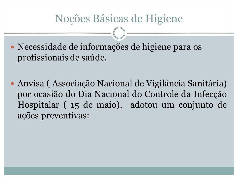 Noções Básicas de Higiene Necessidade de informações de higiene para os profissionais de saúde. Anvisa ( Associação Nacional de Vigilância Sanitária)
