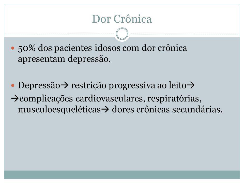 Dor Crônica 50% dos pacientes idosos com dor crônica apresentam depressão. Depressão  restrição progressiva ao leito   complicações cardiovasculare