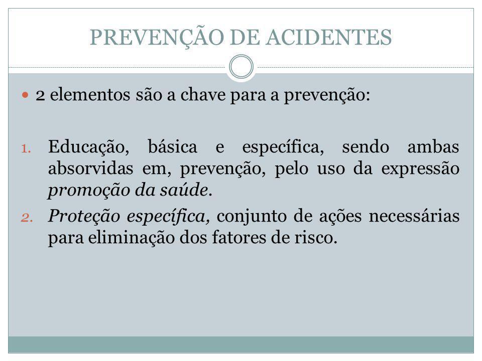 PREVENÇÃO DE ACIDENTES 2 elementos são a chave para a prevenção: 1. Educação, básica e específica, sendo ambas absorvidas em, prevenção, pelo uso da e