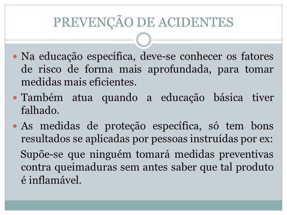 PREVENÇÃO DE ACIDENTES Na educação específica, deve-se conhecer os fatores de risco de forma mais aprofundada, para tomar medidas mais eficientes. Tam