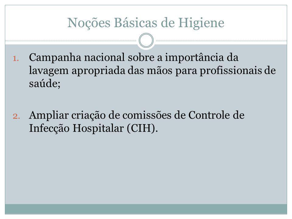 Noções Básicas de Higiene 1. Campanha nacional sobre a importância da lavagem apropriada das mãos para profissionais de saúde; 2. Ampliar criação de c