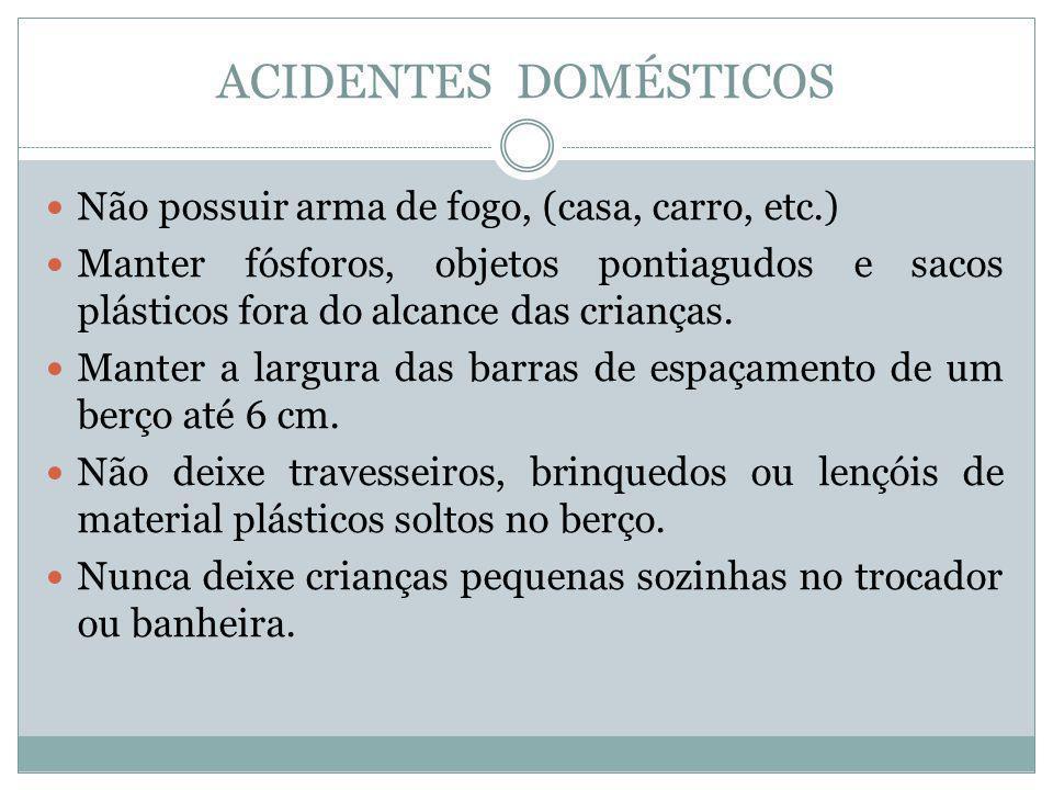 ACIDENTES DOMÉSTICOS Não possuir arma de fogo, (casa, carro, etc.) Manter fósforos, objetos pontiagudos e sacos plásticos fora do alcance das crianças