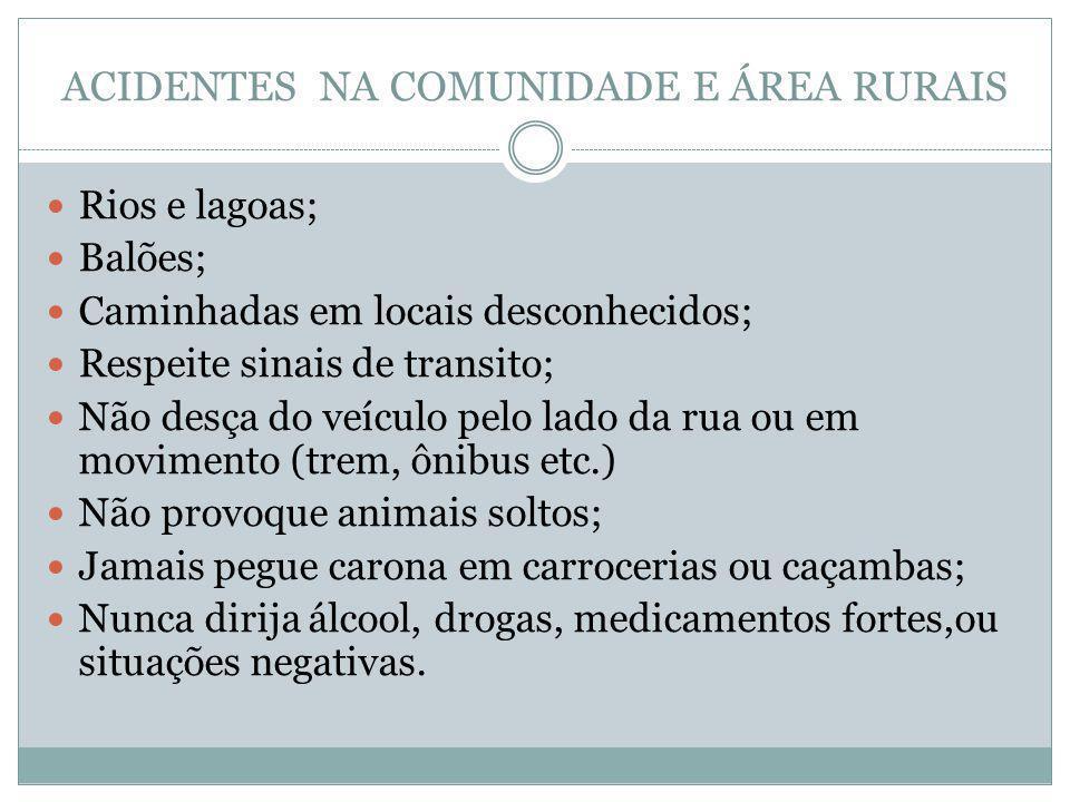 ACIDENTES NA COMUNIDADE E ÁREA RURAIS Rios e lagoas; Balões; Caminhadas em locais desconhecidos; Respeite sinais de transito; Não desça do veículo pel