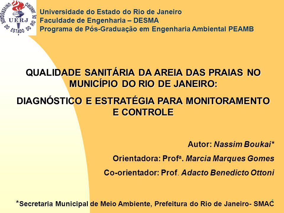 1 QUALIDADE SANITÁRIA DA AREIA DAS PRAIAS NO MUNICÍPIO DO RIO DE JANEIRO: DIAGNÓSTICO E ESTRATÉGIA PARA MONITORAMENTO E CONTROLE Autor: Nassim Boukai*