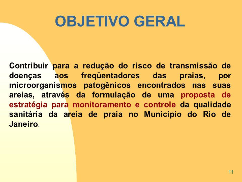 11 OBJETIVO GERAL Contribuir para a redução do risco de transmissão de doenças aos freqüentadores das praias, por microorganismos patogênicos encontra
