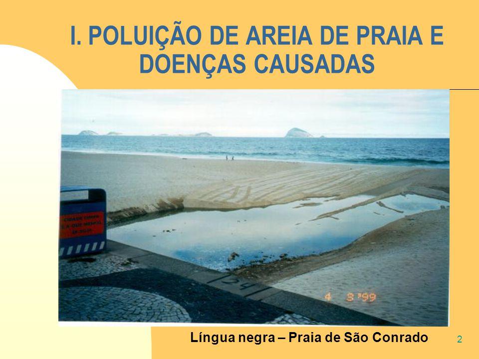 2 I. POLUIÇÃO DE AREIA DE PRAIA E DOENÇAS CAUSADAS Língua negra – Praia de São Conrado