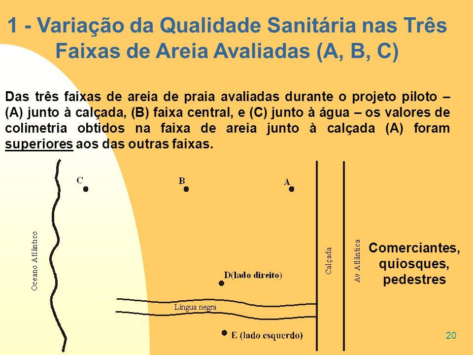 20 1 - Variação da Qualidade Sanitária nas Três Faixas de Areia Avaliadas (A, B, C) Das três faixas de areia de praia avaliadas durante o projeto pilo