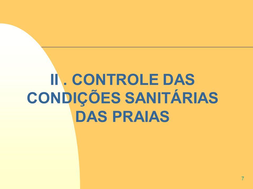 7 II. CONTROLE DAS CONDIÇÕES SANITÁRIAS DAS PRAIAS