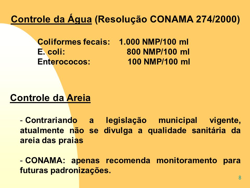 8 Controle da Água (Resolução CONAMA 274/2000) Coliformes fecais: 1.000 NMP/100 ml E. coli: 800 NMP/100 ml Enterococos: 100 NMP/100 ml Controle da Are