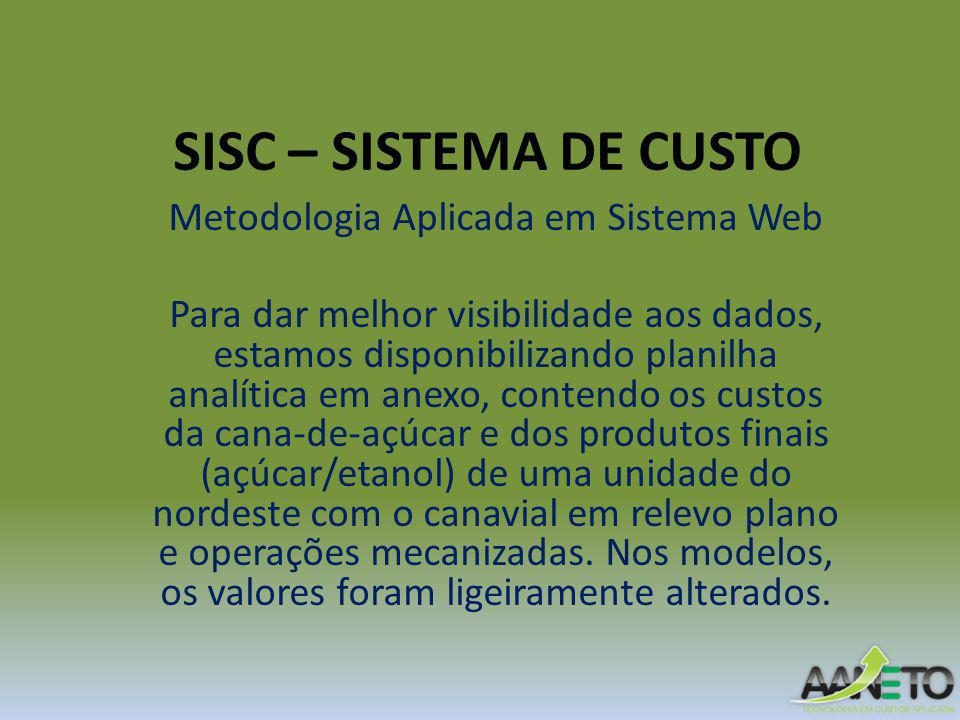 SISC – SISTEMA DE CUSTO Metodologia Aplicada em Sistema Web Para dar melhor visibilidade aos dados, estamos disponibilizando planilha analítica em ane