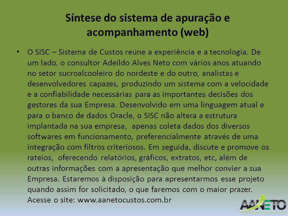 Síntese do sistema de apuração e acompanhamento (web) O SISC – Sistema de Custos reúne a experiência e a tecnologia. De um lado, o consultor Adeildo A