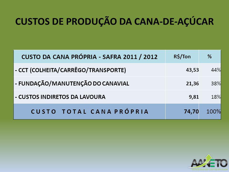 CUSTOS DE PRODUÇÃO DA CANA-DE-AÇÚCAR CUSTO DA CANA PRÓPRIA - SAFRA 2011 / 2012 R$/Ton% - CCT (COLHEITA/CARRÊGO/TRANSPORTE) 43,5344% - FUNDAÇÃO/MANUTENÇÃO DO CANAVIAL 21,3638% - CUSTOS INDIRETOS DA LAVOURA 9,8118% C U S T O T O T A L C A N A P R Ó P R I A 74,70100%